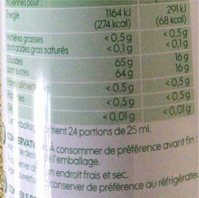 Sirop citron bio bidon - Informations nutritionnelles - fr