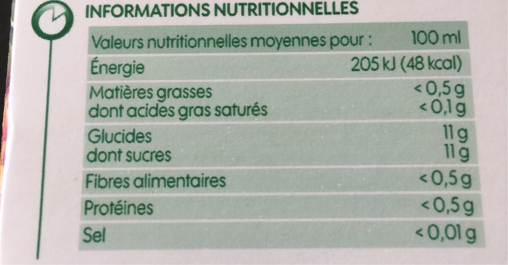 Pur jus fruits exotiques - Informations nutritionnelles