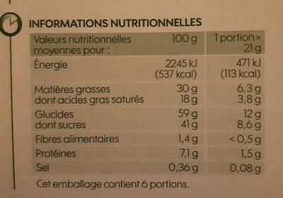 Barre Cœur de lait - Valori nutrizionali - fr