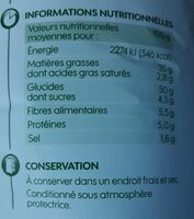 Chips crème oignons bio - Informations nutritionnelles - fr