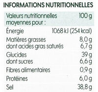 Bouillon cube volaille bio x 8 - Informations nutritionnelles - fr
