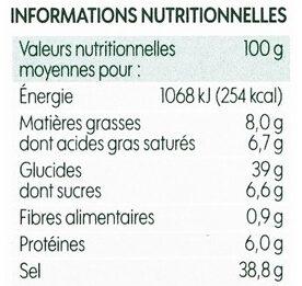 Bouillon cube volaille x8 bio - Informations nutritionnelles - fr