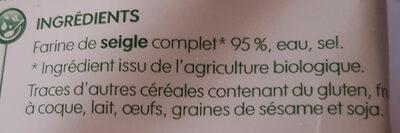 Tartines croustillantes au Seigle - Ingredienti - fr