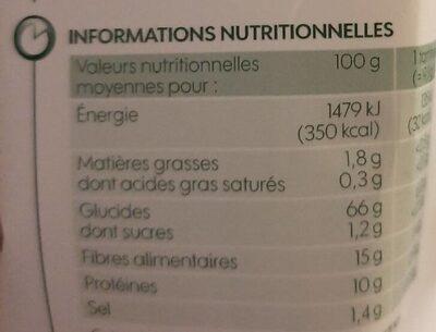 Tartines croustillantes au Seigle - Valori nutrizionali - fr