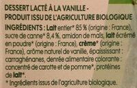 Dessert lacté vanille - Ingrédients