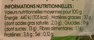 Dessert lacté vanille - Informations nutritionnelles