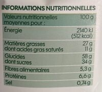 Cookies Mega pepites de chocolat - Nutrition facts - fr