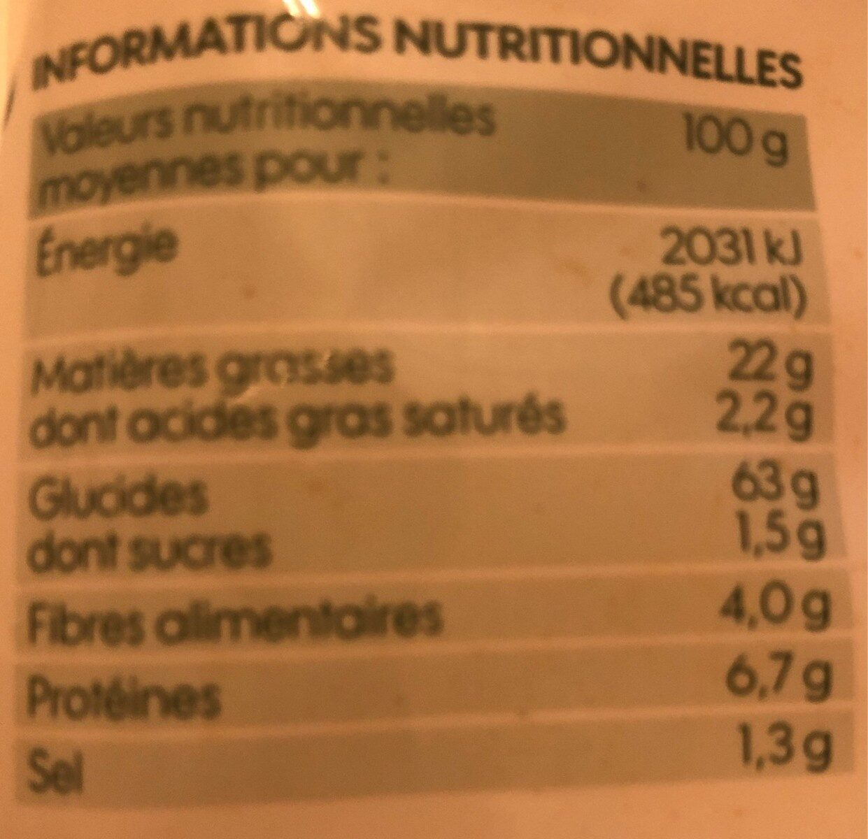 Tortillas chips chili - Informations nutritionnelles - fr