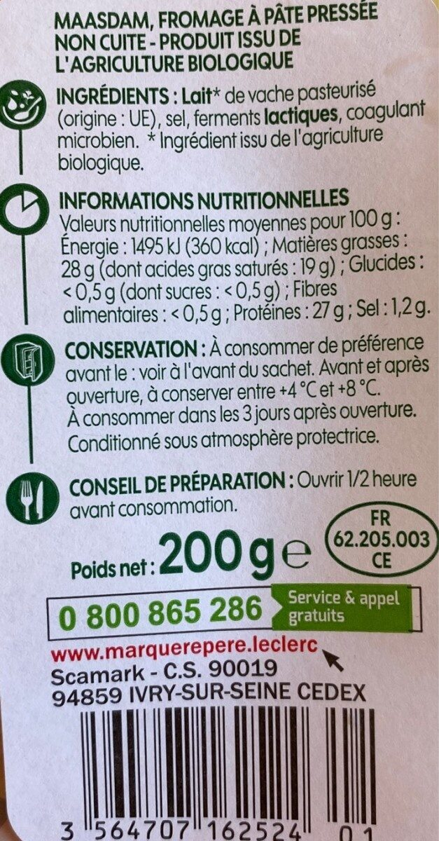 Maasdam en tranchettes - Valori nutrizionali - fr