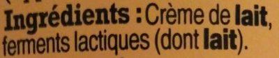 Crème Fraîche d'Isigny - Ingredients