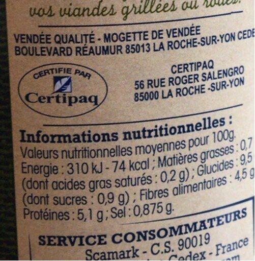 Mogettes De Vendée cuir au naturel - Nutrition facts - fr