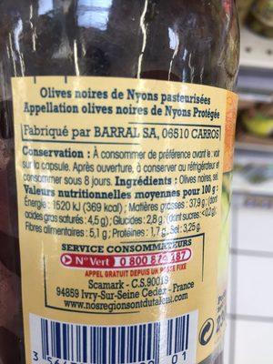 Olives noirs de Nyons - Ingrédients