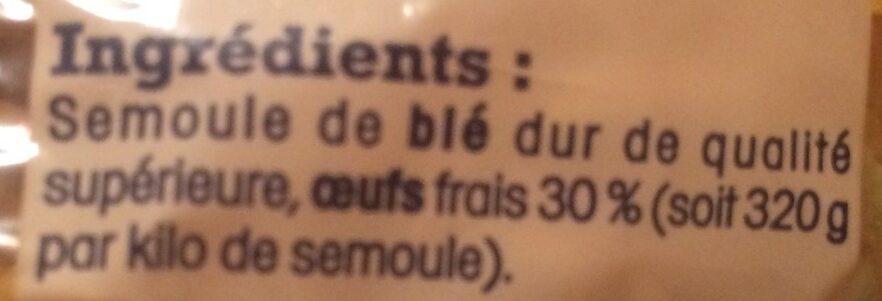 Pâtes d'Alsace Spaetzle (7 Œufs Frais par kilo de semoule) - Ingrediënten - fr