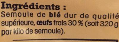 Nids d'Alsace (7 Œufs Frais Par kilo de semoule) - Ingrédients - fr