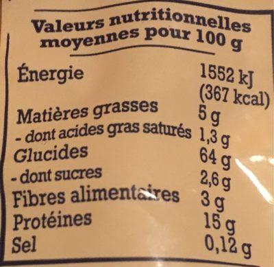 Nids d'Alsace (7 Œufs Frais Par kilo de semoule) - Informations nutritionnelles