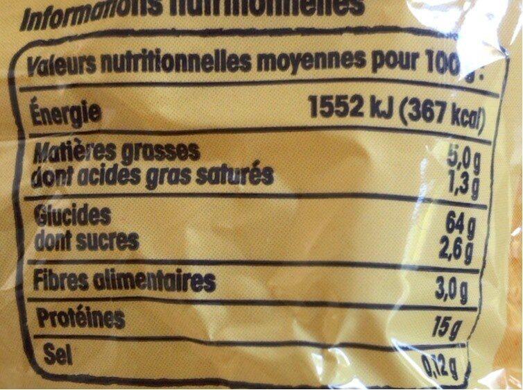 Nids d'Alsace (7 Œufs Frais Par kilo de semoule) - Informations nutritionnelles - fr