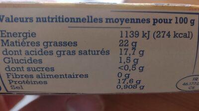 Rocamadour - Informations nutritionnelles - fr