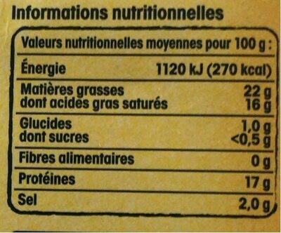 Chaource AOP - Nutrition facts - fr