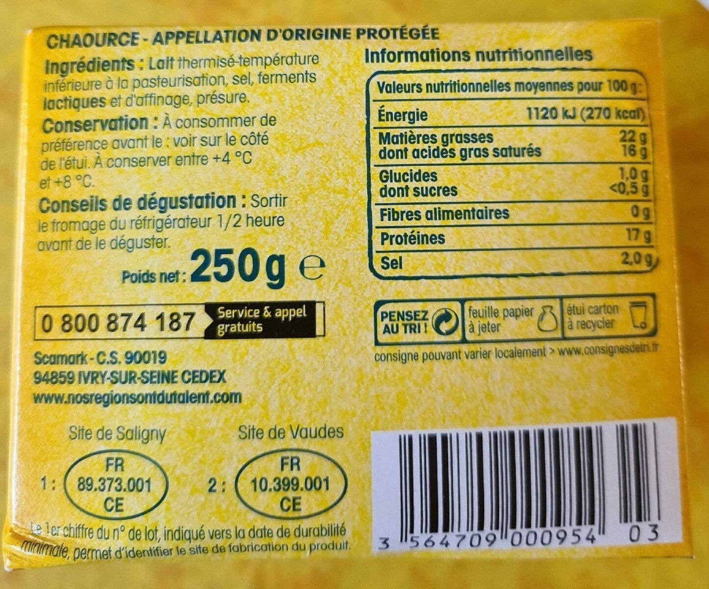 Chaource - Informations nutritionnelles - fr