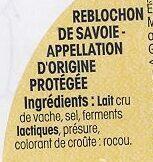 Reblochon de Savoie AOP (25% MG) Au Lait Cru - Ingredienti - fr