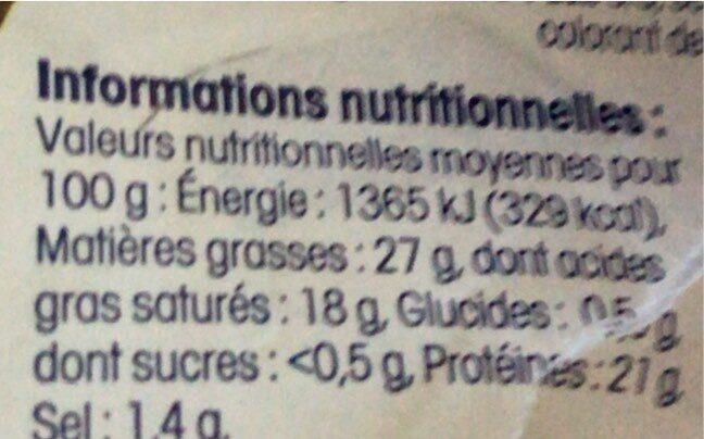 Reblochon de Savoie AOP (25% MG) Au Lait Cru - Informazioni nutrizionali - fr