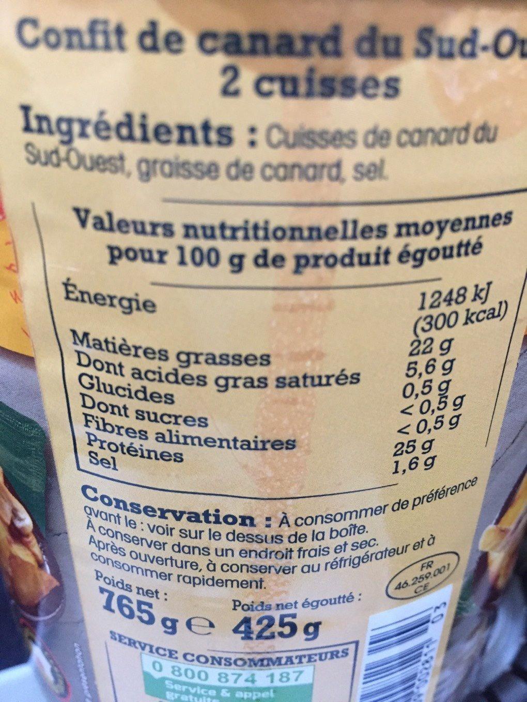 Confit de Canard du Sud-Ouest IGP - Informations nutritionnelles - fr