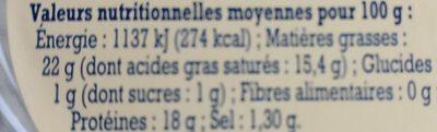 Fromage de chèvre Sainte Mauree - Nutrition facts