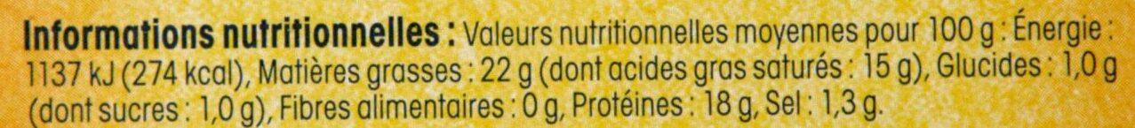Fromage de chèvre Sainte Mauree - Informations nutritionnelles - fr