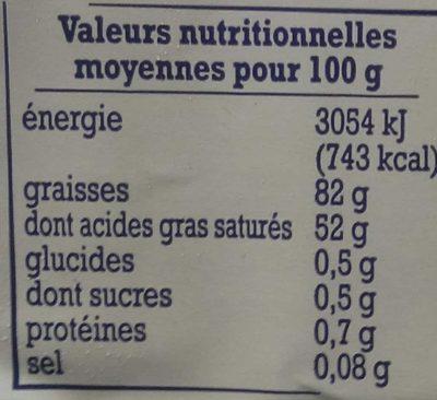 Beurre D'Isigny doux - Informations nutritionnelles - fr