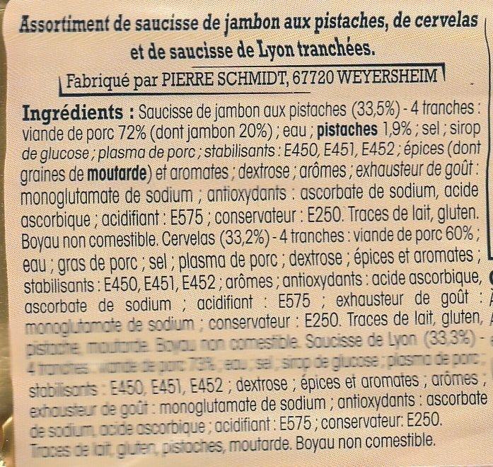 Assortiment de charcuterie d'Alsace, 12 tranches - Ingredients - fr