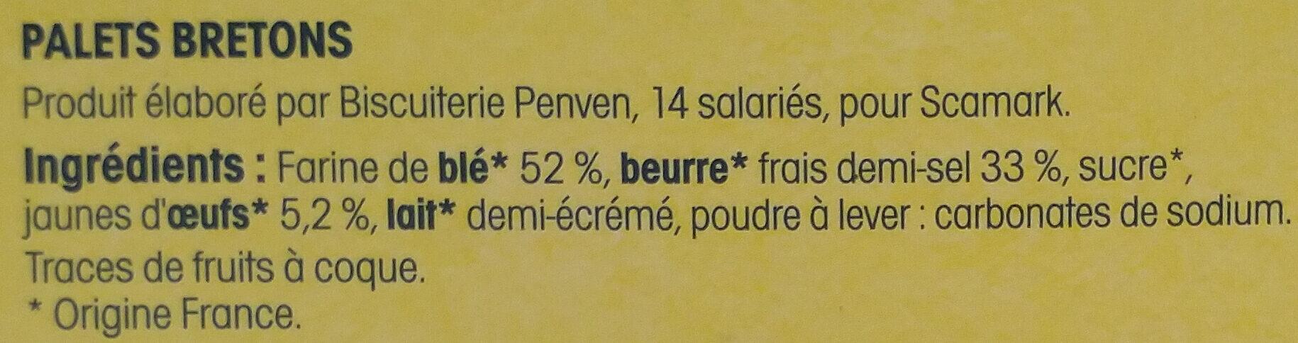 Palets bretons fabriqués à Pont-Aven - Ingredienti - fr