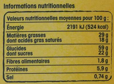 Palets bretons fabriqués à Pont-Aven - Valori nutrizionali - fr