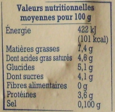 Faisselle de la Bresse (7,4 % MG) - Nutrition facts