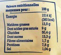 Brioche vendéenne - Pur beurre, tressée à la main, IGP - Voedingswaarden