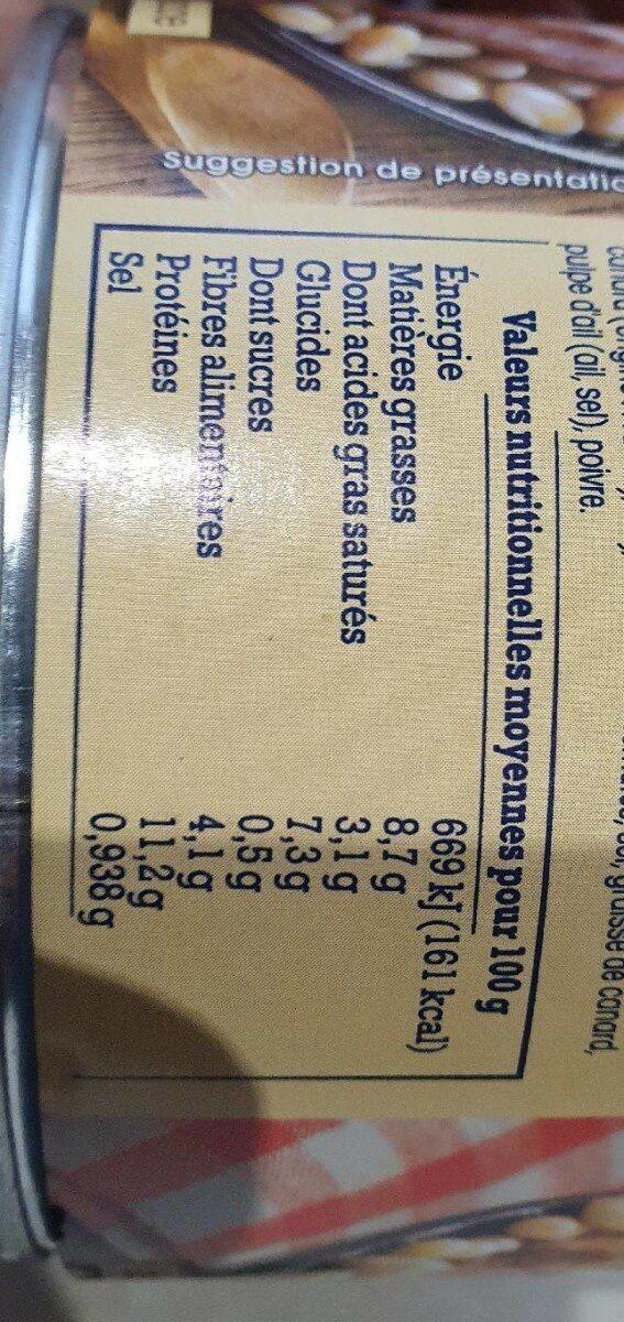 Cassoulet de Castelnaudary au confit de canard - Voedingswaarden - fr