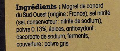 Magret de Canard du Sud-Ouest Séché et au Poivre - Ingrédients - fr