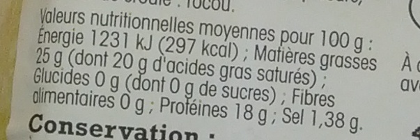 Reblochon de Savoie AOP Au Lait Cru - Nutrition facts