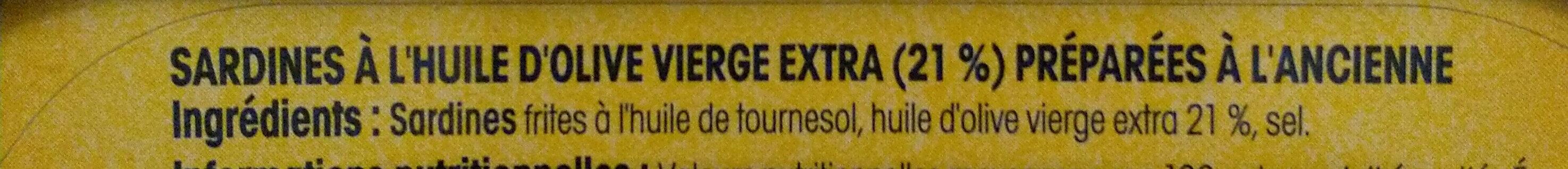Sardines à l'huile d'olive verge extra (Préparées à l'ancienne) Label Rouge - Inhaltsstoffe