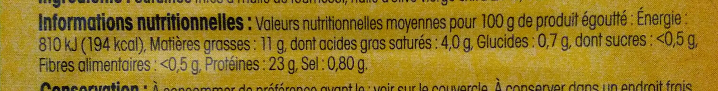 Sardines à l'huile d'olive verge extra (Préparées à l'ancienne) Label Rouge - Nährwertangaben