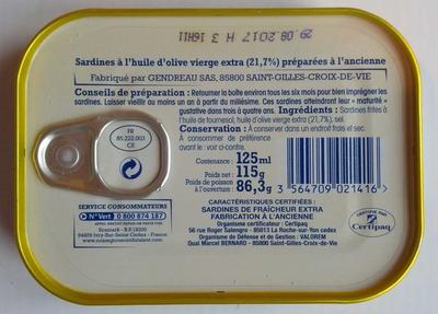 Sardines à l'huile d'olive verge extra (Préparées à l'ancienne) Label Rouge - Informations nutritionnelles