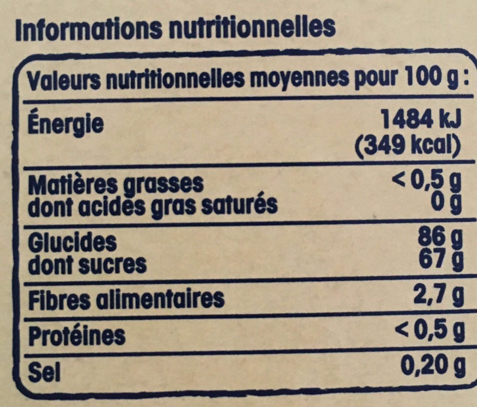 Pâtes de Fruits Jaunes - Informations nutritionnelles - fr