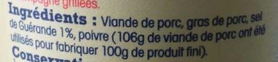 Véritables rillettes du Mans à l'ancienne au sel de Guérande - Ingrédients - fr