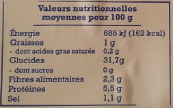 Galettes de Bretagne au sarrasin - Voedingswaarden - fr