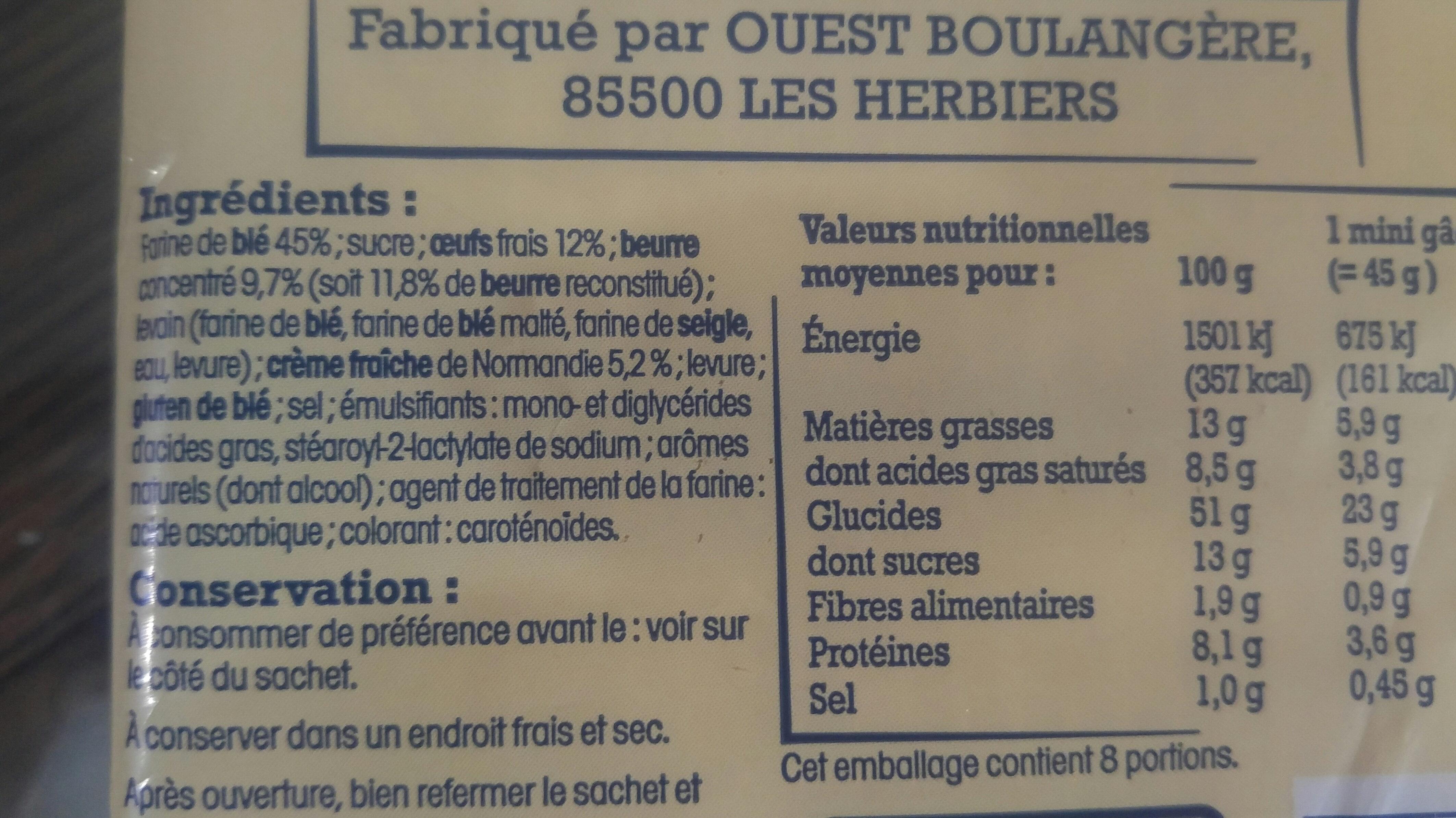 8 mini gâches pur beurre à la crême fraîche - Ingrédients - fr