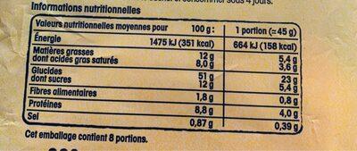 8 mini gâches pur beurre à la crême fraîche - Informations nutritionnelles - fr