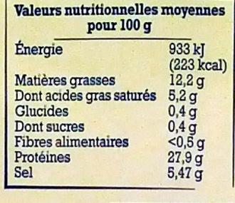 Jambon d'Auvergne (4 Tranches) - Nutrition facts - fr