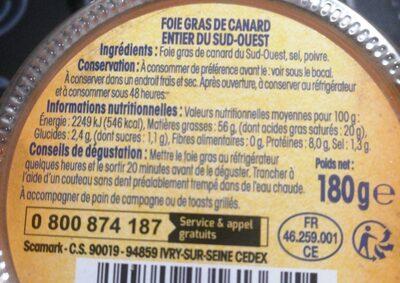Foie Gras Canard Entier, Nos Régions Ont Du Talent - Voedingswaarden - fr