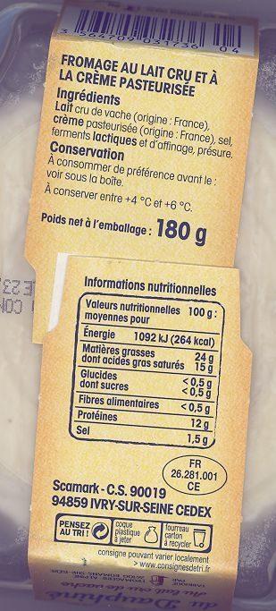 Saint-Félicien du Dauphiné au lait cru - Ingrediënten