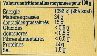 Saint-Félicien du Dauphiné au lait cru de vache - Informations nutritionnelles - fr
