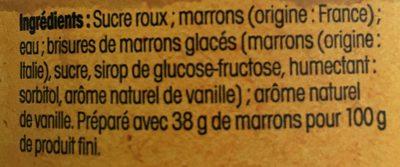 Crème de marron de l'Ardèche - Ingrediënten